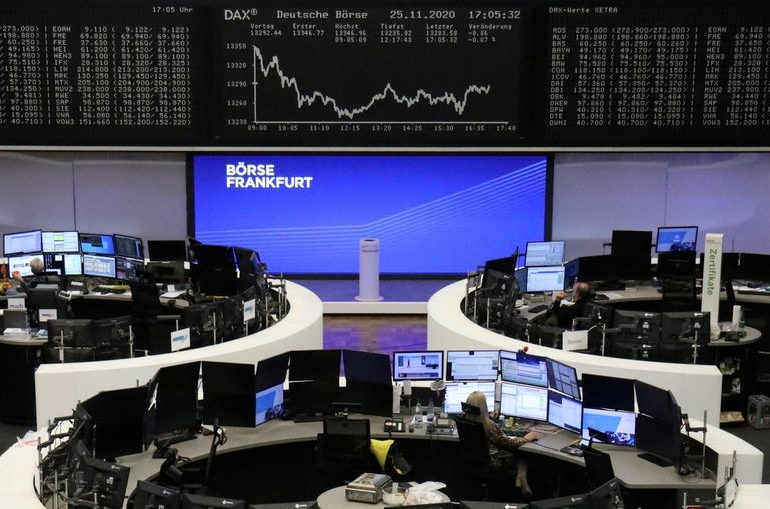 European shares dip; UK vaccine approval limits losses on FTSE 100